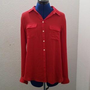 LOFT- Red button down blouse